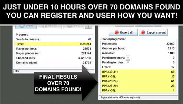 Expired Domain Miner results